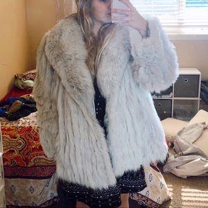 Jackets & Blazers - REAL FUR blue fox fur coat (L)